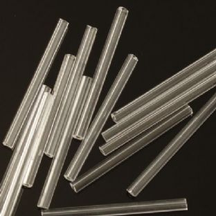 Extra Long 30mm Crystal Clear Glass Bugle Beads x 40